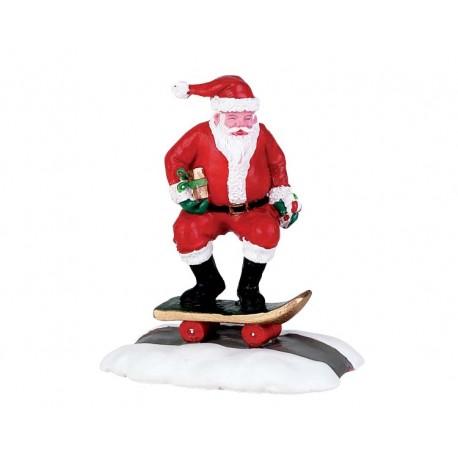 Pere Noel qui fait du skate Lemax Vail Village