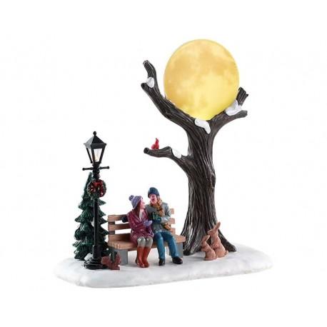 Scène lumineuse Amoureux sur un banc au clair de lune Lemax Vail Village