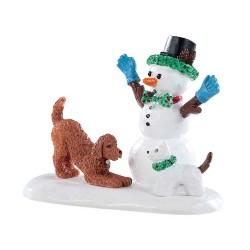 Chien et bonhomme de neige Lemax Vail Village