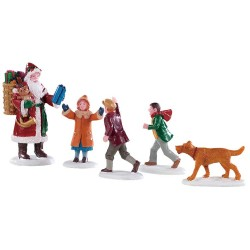 Père Noël avec enfants Lot de 5 Lemax Caddington