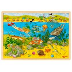 Puzzle cadre enfant en bois monde sous-marin 192 pièces