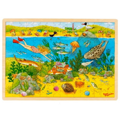 Puzzle enfant en bois monde sous-marin 192 p