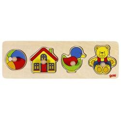 Puzzle enfant en bois jouets à encastrement 4 pièces