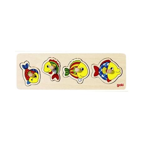Puzzle enfant en bois poissons à encastrement 4 pièces