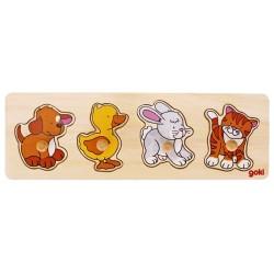 Puzzle enfant en bois chien canard lapin chat à encastrement 4 pièces