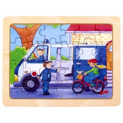 Puzzle enfant en bois policiers 24 pièces