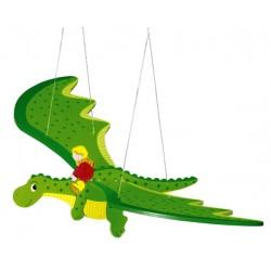 Mobile bébé en bois dragon vert 50 cm à suspendre