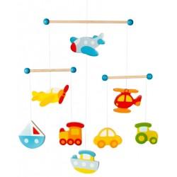 Mobilé bébé en bois véhicules 44 cm