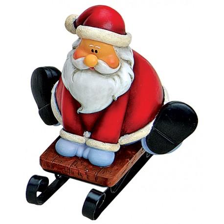 Figurine Père Noël luge assis résine 10 cm
