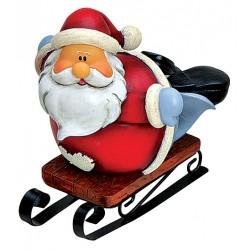 Figurine Père Noël luge couché résine 10 cm