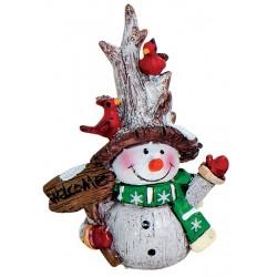 Figurine Bonhomme de neige pancarte résine 8 cm