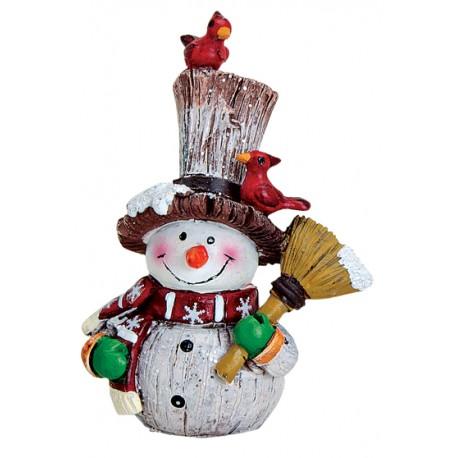 Figurine Bonhomme de neige balai résine 8 cm