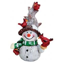 Figurine Bonhomme de neige oiseaux résine 8 cm