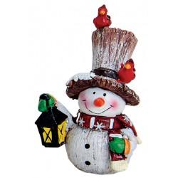 Figurine Bonhomme de neige lanterne résine 8 cm