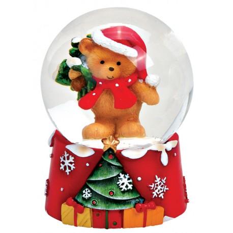 Boule à neige Noël ourson sapin résine 6 cm