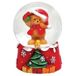 Boule à neige Noël ourson cadeau résine 6 cm