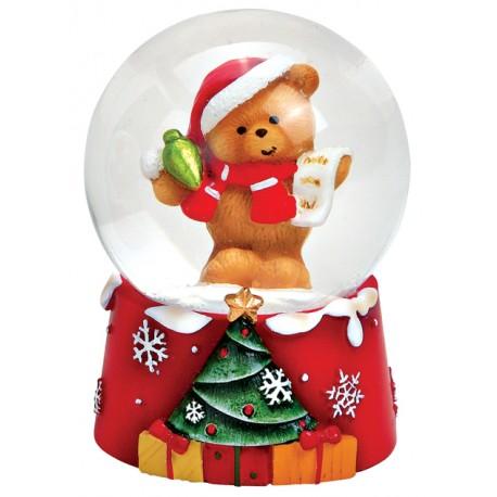 Boule à neige Noël ourson liste résine 6 cm