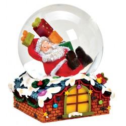 Boule à neige Père Noël toit cadeaux résine 8 cm