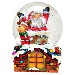 Boule à neige Père Noël et renne toit résine 8 cm