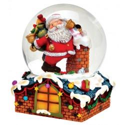 Boule à neige Père Noël et hotte toit résine 8 cm