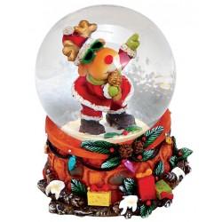 Boule à neige Noël renne chanteur résine 6 cm