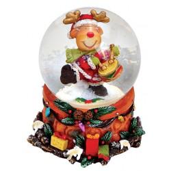 Boule à neige Noël renne tambour résine 6 cm