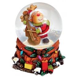 Boule à neige Noël renne violoncelle résine 6 cm