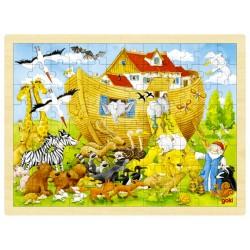 Puzzle cadre enfant en bois Arche de Noé 96 pièces