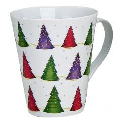 Tasse Noël petits sapins porcelaine 30 cl