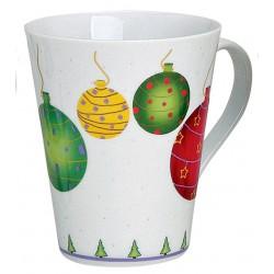 Tasse boules de Noël porcelaine 30 cl