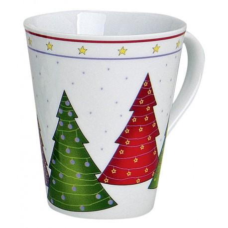 Tasse Noël grands sapins porcelaine 30 cl