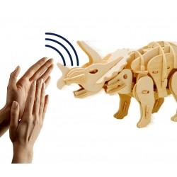 Maquette en bois motorisée Triceratops animé et sonore