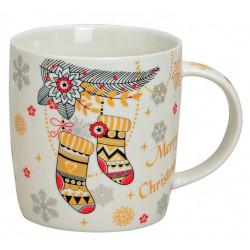 Tasse Chaussettes de Noël porcelaine 30 cl
