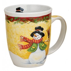 Tasse Bonhomme de neige balai porcelaine 30 cl