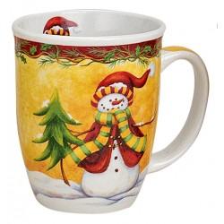 Tasse Bonhomme de neige sapin porcelaine 30 cl