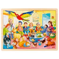 Puzzle cadre enfant en bois vétérinaire 48 pièces