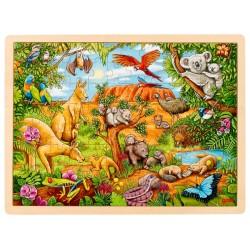 Puzzle cadre enfant en bois animaux Australie 96 pièces