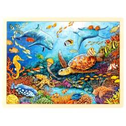 Puzzle cadre enfant en bois fonds marins corail 96 pièces