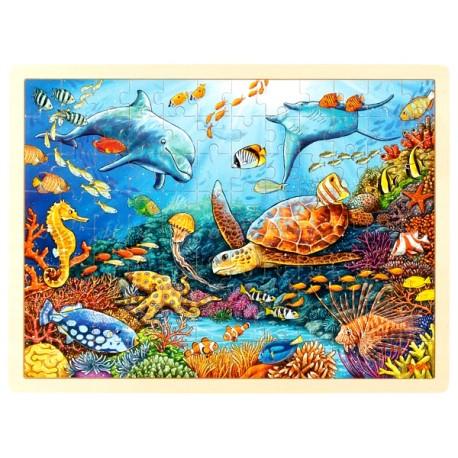 Puzzle enfant en bois fonds marins corail 96 pièces