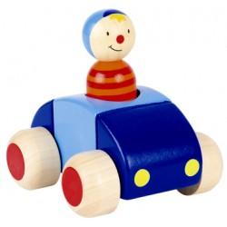 Voiture et personnage en bois klaxon bleu et rouge