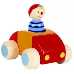 Voiture et personnage en bois klaxon rouge et bleu