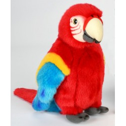 Peluche perroquet rouge jaune bleu 28 cm