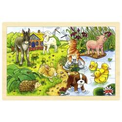 Puzzle cadre enfant en bois bébés animaux 24 pièces
