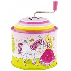 Boîte à musique à manivelle Princesse violet 10 cm