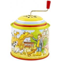 Boîte à musique à manivelle Ferme jaune 10 cm