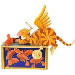 Automate en bois Chat et Poissons Paradis en kit 30 cm