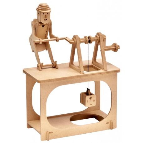 Automate en bois Travailleur remontant un seau en kit 23 cm