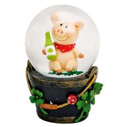 Boule à neige cochon bouteille résine 7 cm