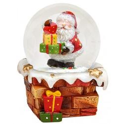 Boule à neige Père Noël cadeaux résine 9 cm