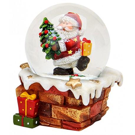 Boule à neige Père Noël sapin et cadeau résine 9 cm
